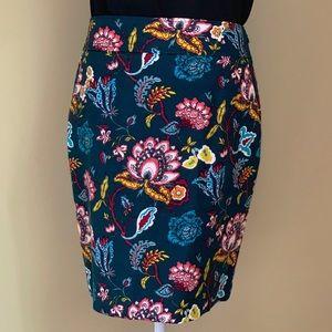 LOFT Teal Floral Skirt Size 8